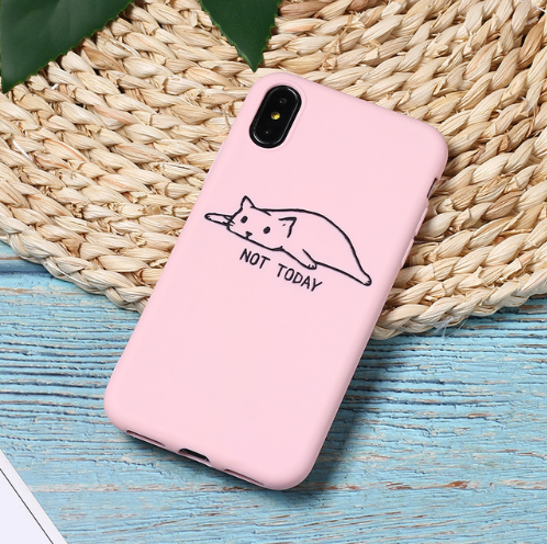 Pink Cute Cartoon Lazy Cats Spotty Dog Corgi Puppy Soft Matte Phone Case Fundas For iPhone 7Plus 7 6Plus 6 6S 5SE 8 8Plus X XS Max 104